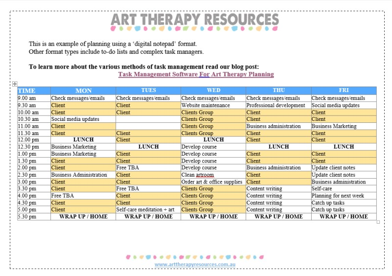 Art Therapy Planning Word