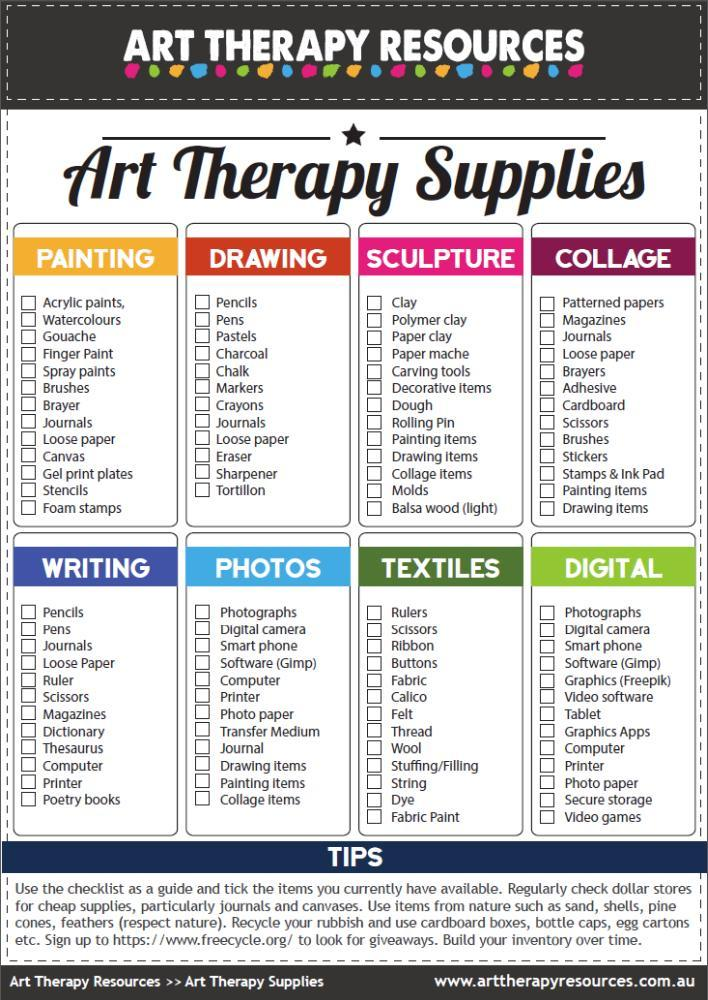 Art Therapy Supplies Checklist