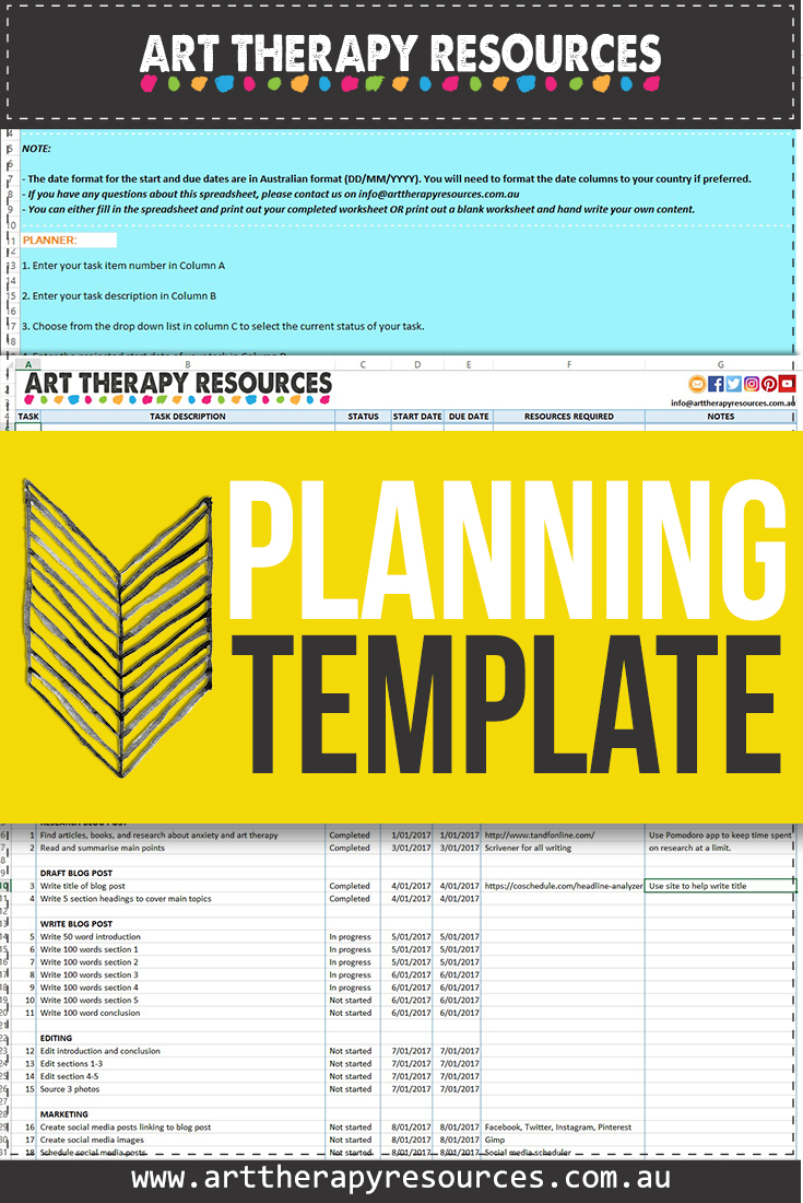 planning template for your art therapy practice  includes