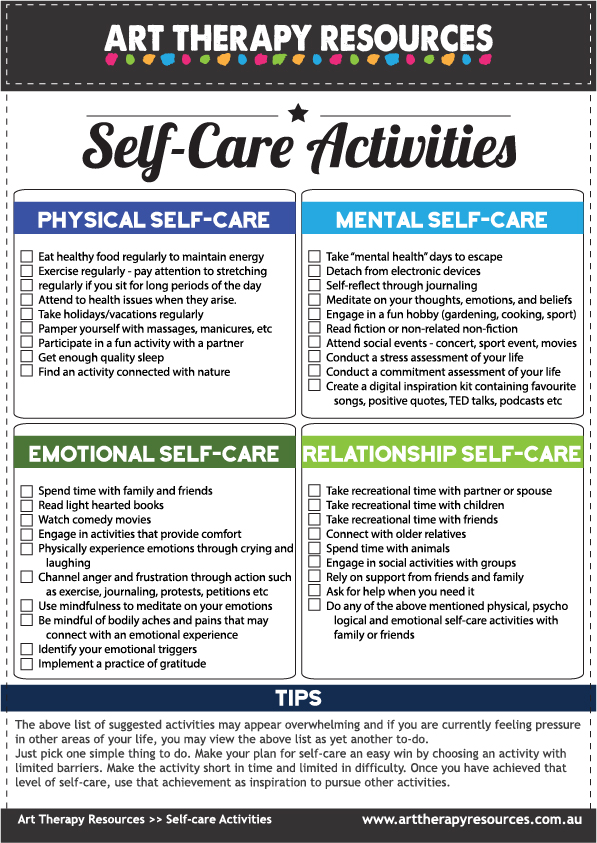 Self-care activities list
