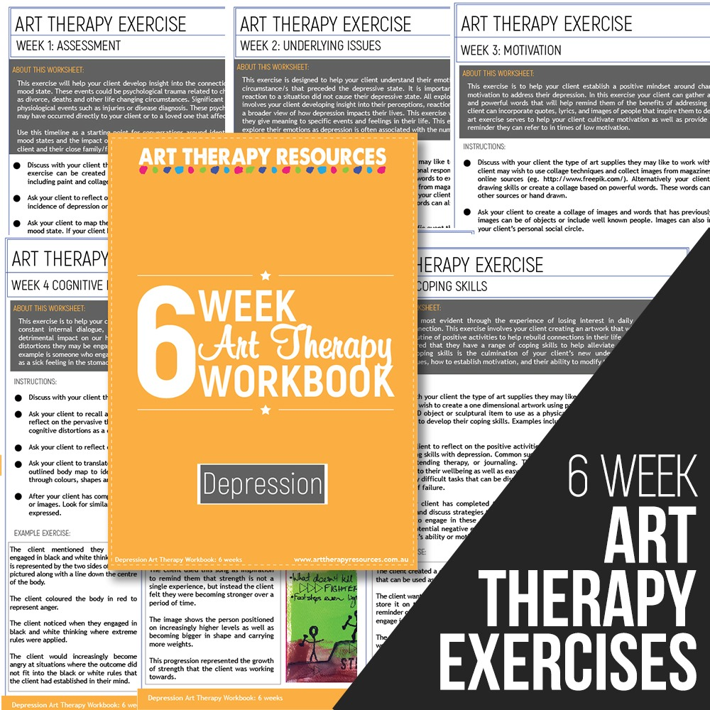Workbooks therapy workbooks : Depression Art Therapy Exercises 6-week Program